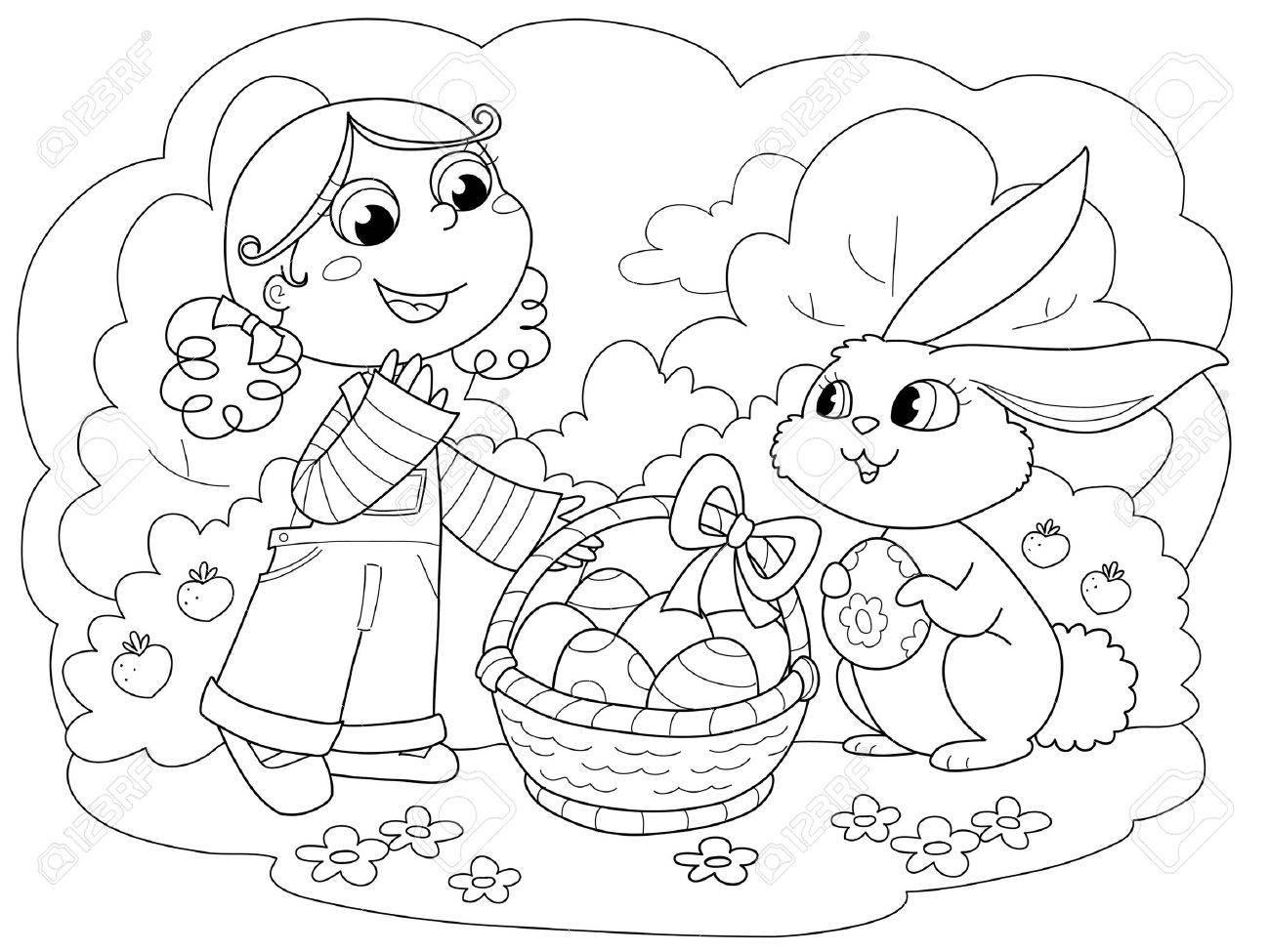 Linda Chica Joven Con El Conejito De Pascua Y Los Huevos Decorados ...