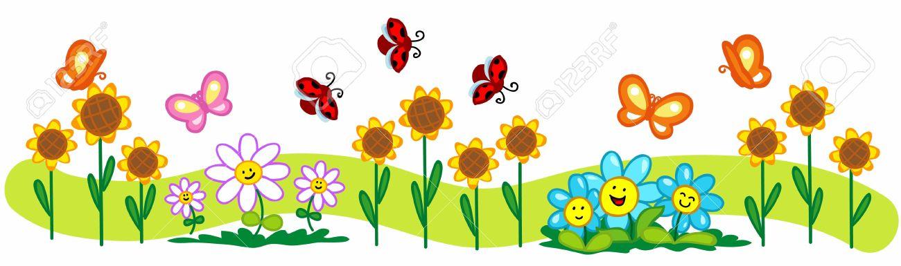 Dibujo Animado De Primavera Ilustracion Una Linea De Flores