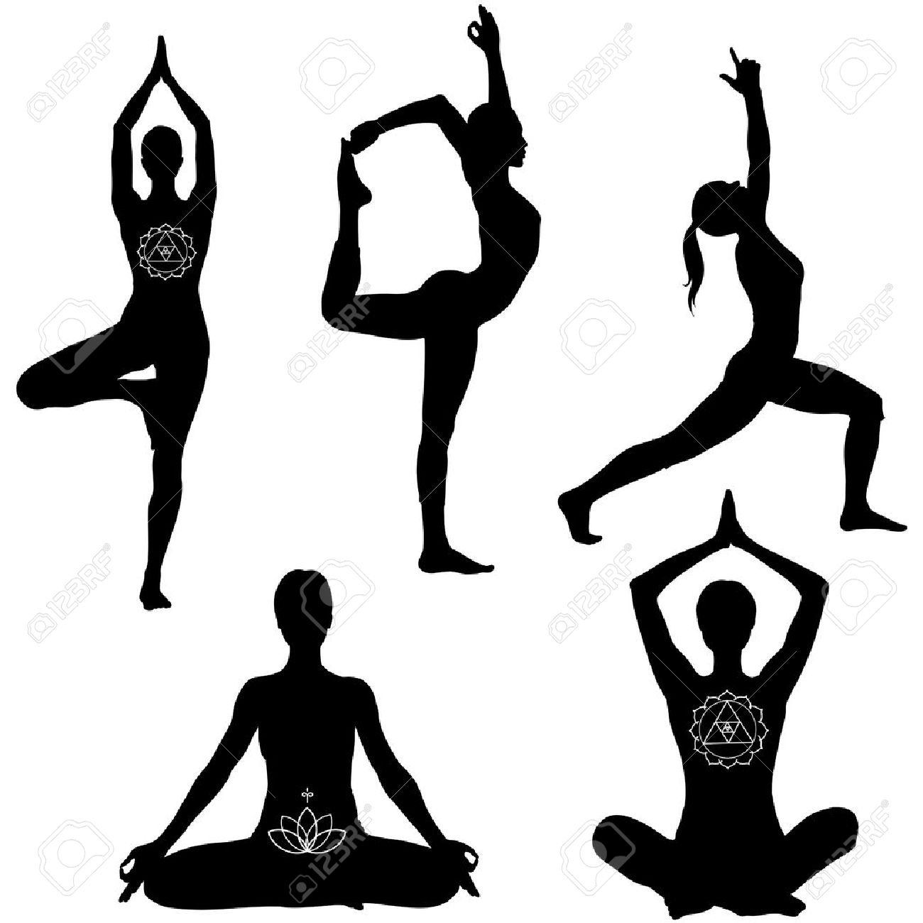 Yoga poses: lotus, lord of the dance, warrior I and tree pose