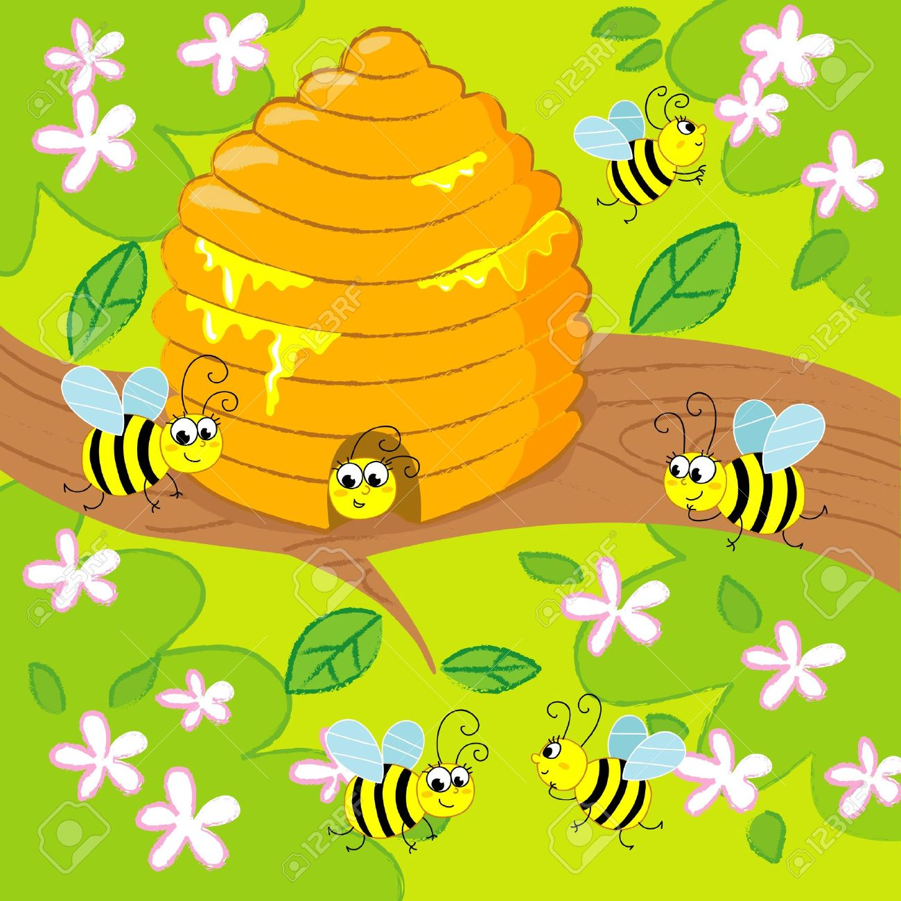 Cartoon beehive with flying happy bees in spring. image for kids. Stock Vector - 11102556