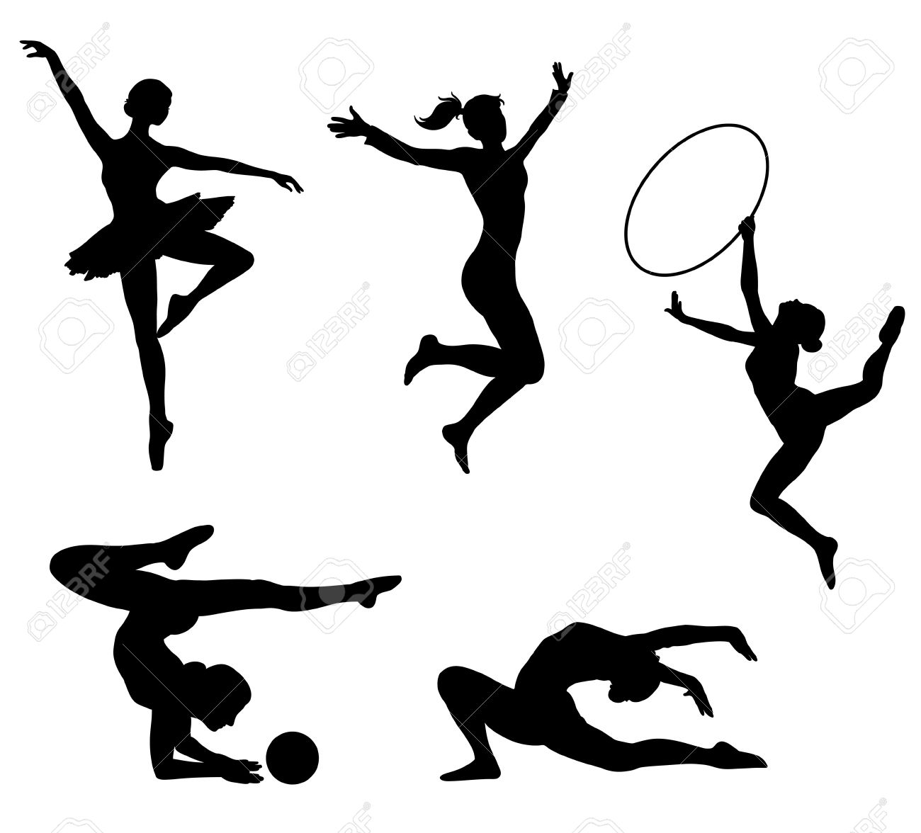 Sportive girls black icons. image. Stock Vector - 11102554