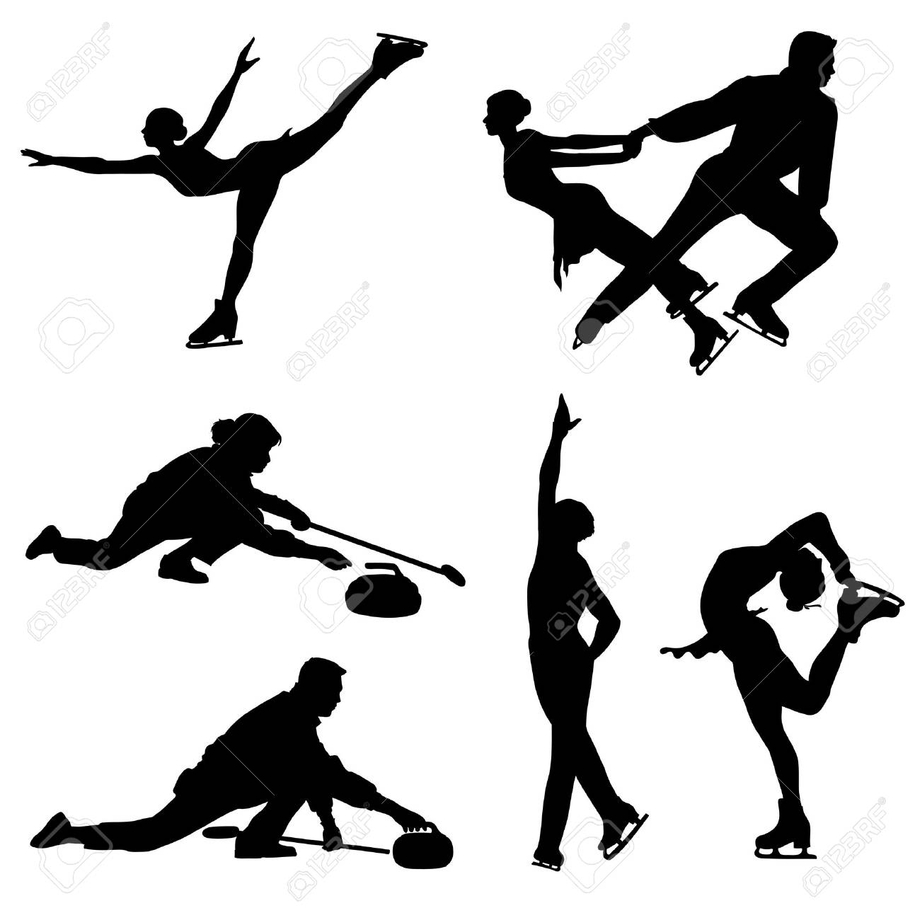 Ice skaters and curler black icons. images. Stock Vector - 11102555