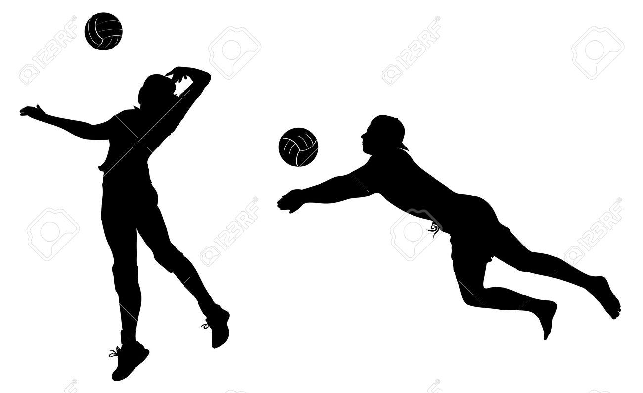 Jugadores De Voleibol Iconos Negros. Imágenes Prediseñadas ...