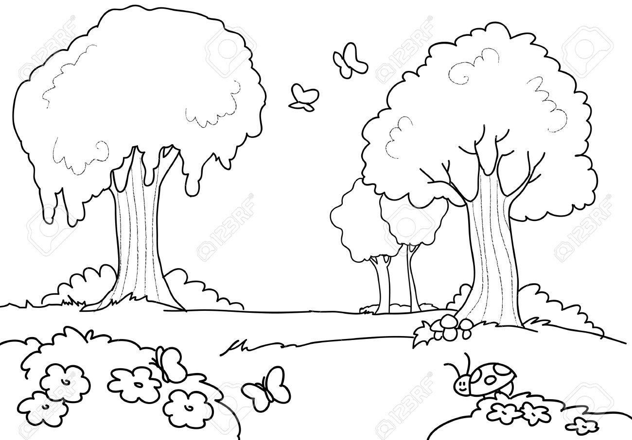 Una Madera Con Mariposas Flores Y árboles Dibujos Para Colorear Ilustración