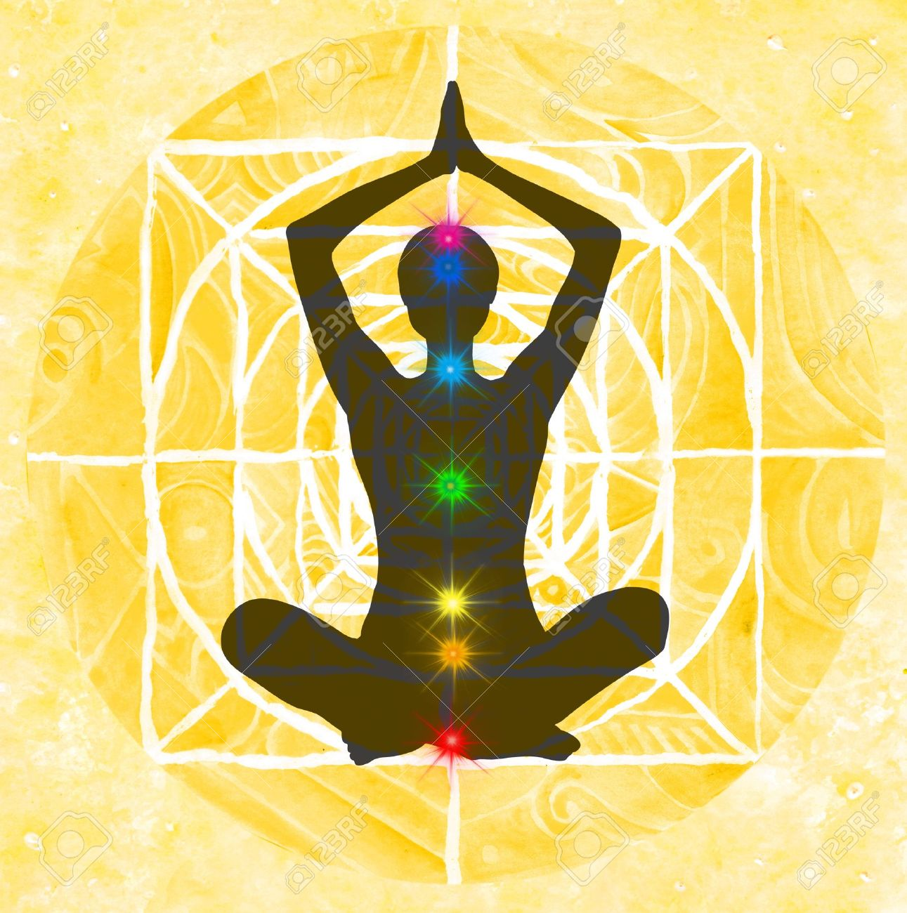 Lotus meditation pose with hands up in prayer. Padmasana with colored chakra points. Stock Photo - 11556788