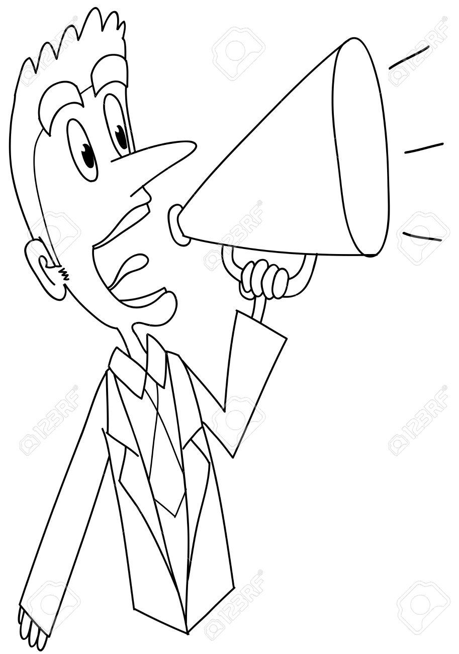 Un Hombre Gritando En Un Megafono Dibujos Para Colorear