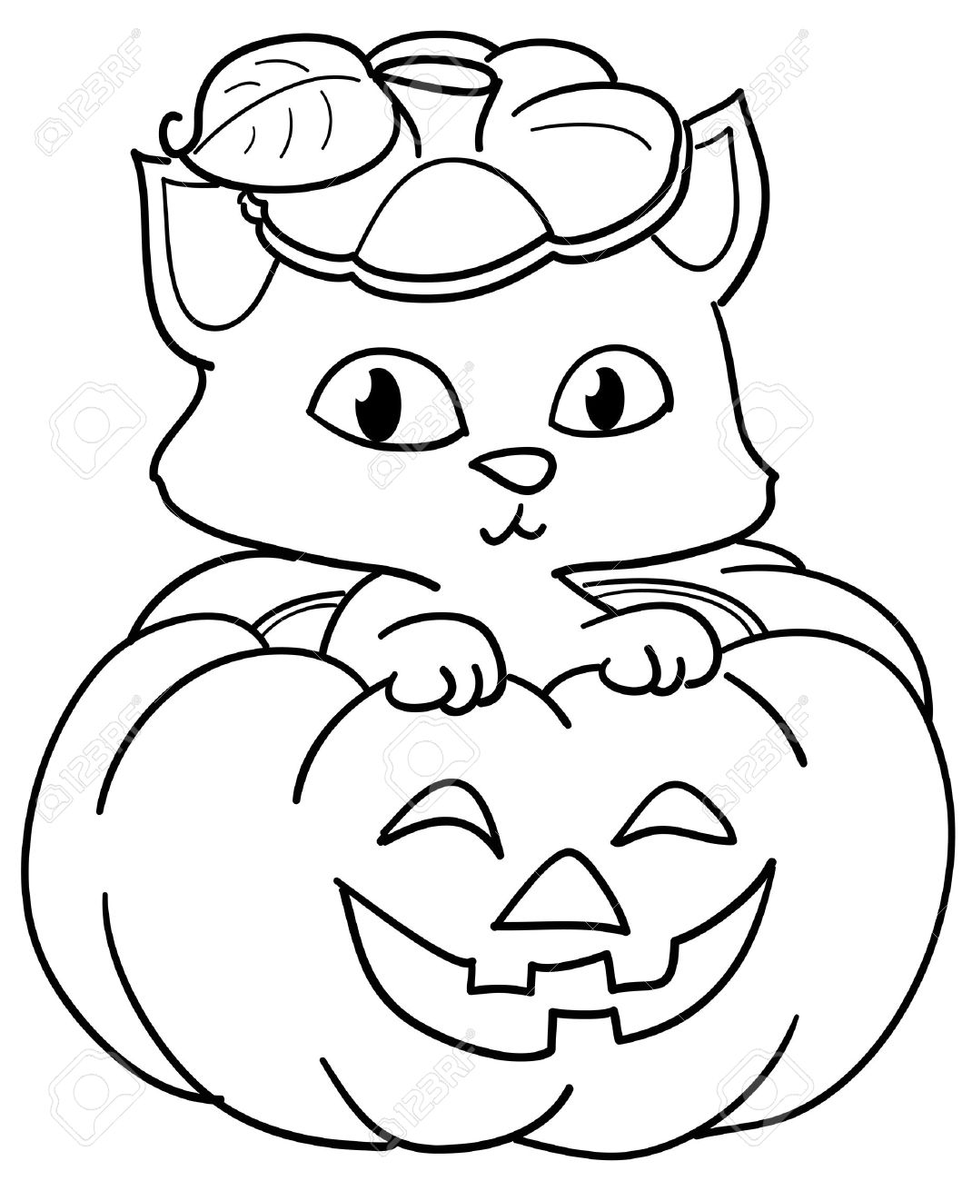Cute Cat In A Halloween Pumpkin. Coloring Illustration For Kids ...