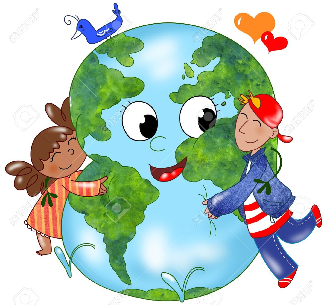 Two kids embracing a happy planet earth Stock Photo - 11557801