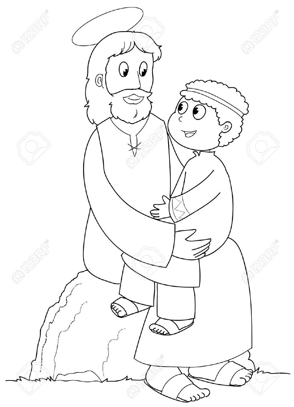 Jesus Christ With A Young Child. Black And White Illustration. Stock ...