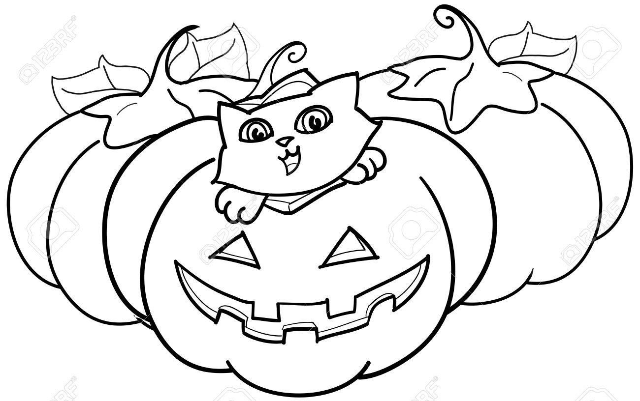Un Lindo Gato Dentro De Una Calabaza De Halloween. Ilustración Para ...