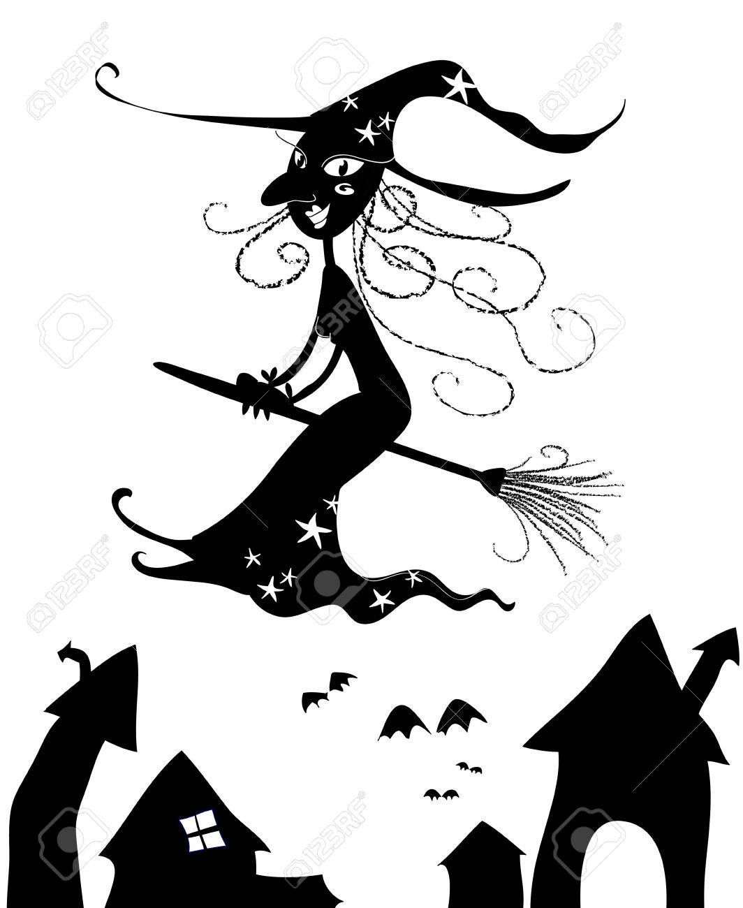 black silhouette of halloween flying witch stock photo 11557775