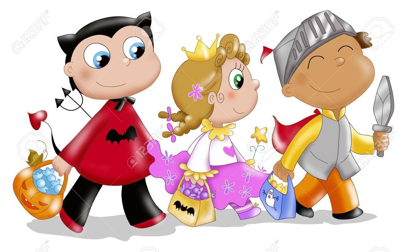 Three Cute Kids In Halloween Masks.Digital Illustration. Stock ...