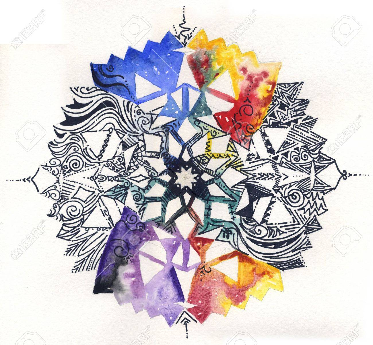 Hand painted mandala: watercolor and black pen, isolated on white background Stock Photo - 12148987