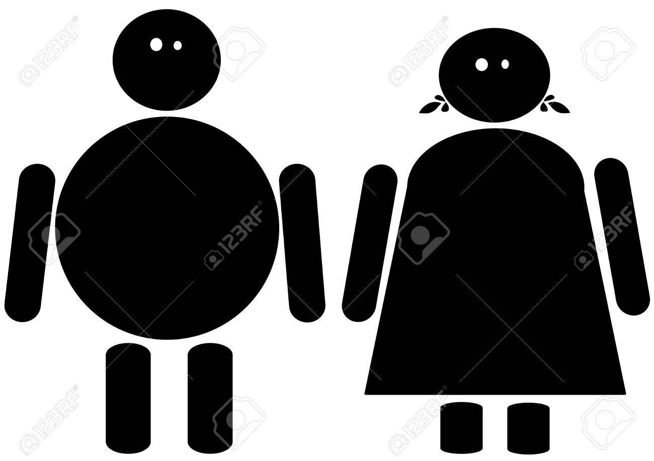 Black clip art of a fat male and female Stock Photo - 12964087