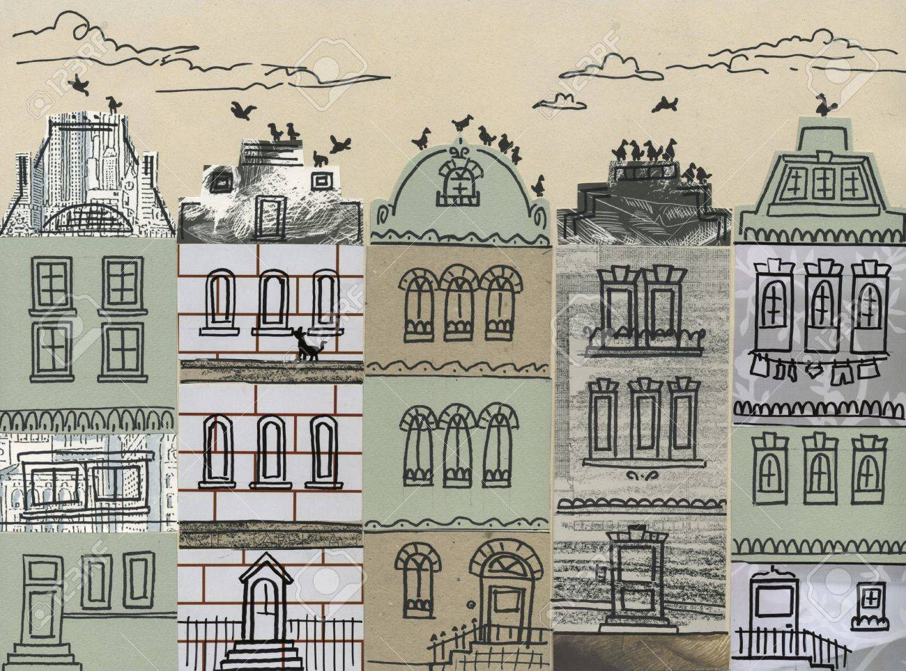 Old Fashioned Houses line of grey old fashioned european houses hand made collage stock