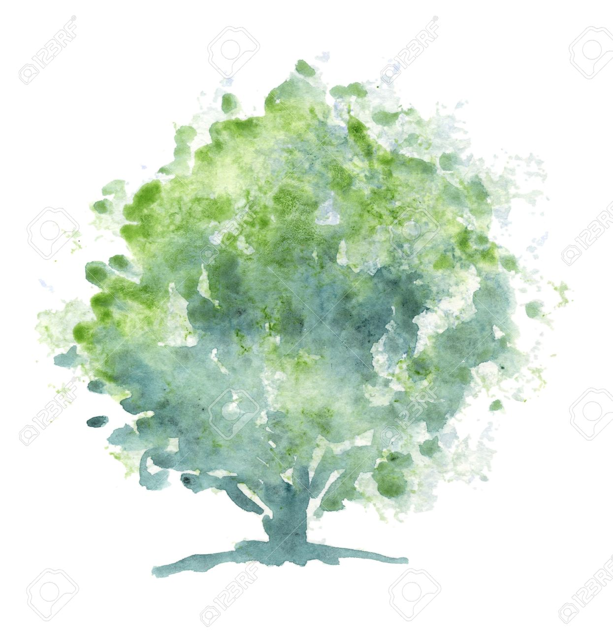 Stylized green tree  Painting executed in traditional watercolor on rough paper Stock Photo - 12964103