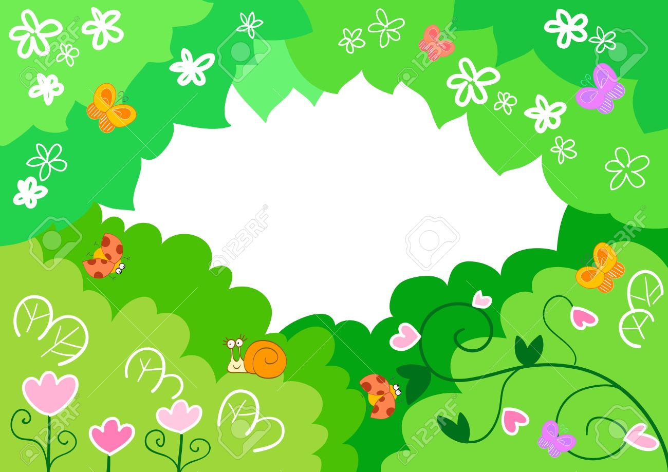 funny cartoon frame made of leaves flowers and cute insects stock