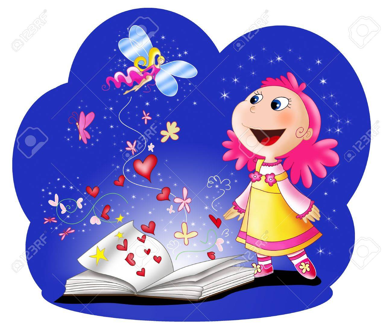 Magic fairy tales book and an amazed girl  Digital illustration Stock Photo - 13133105