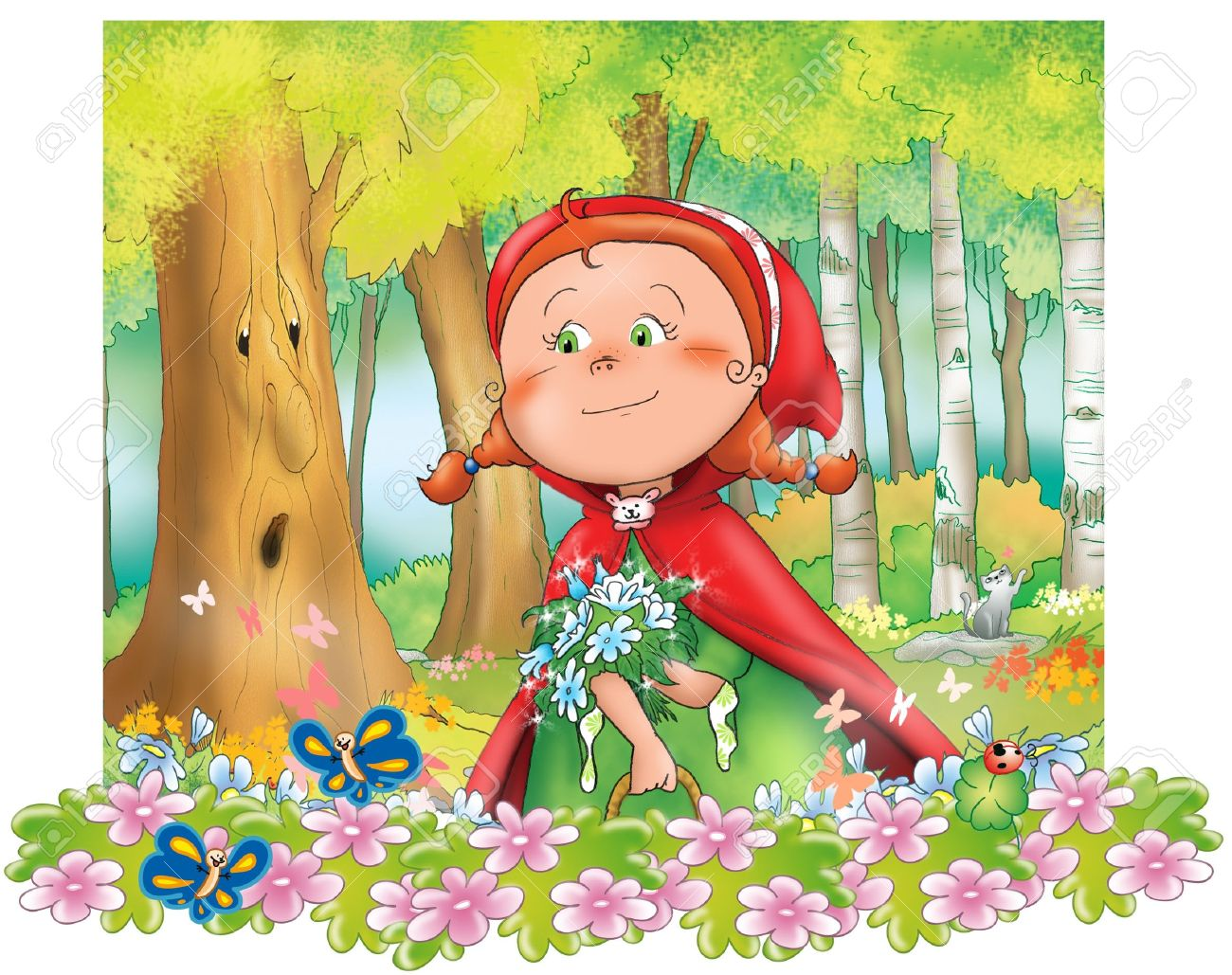 Little Red Riding Hood with blue flowers in the wood  Digital illustration Stock Photo - 13133111