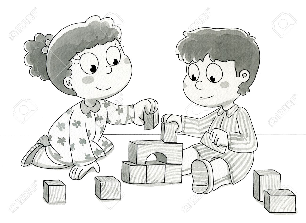 two cute children playing with bricks black and white watercolor