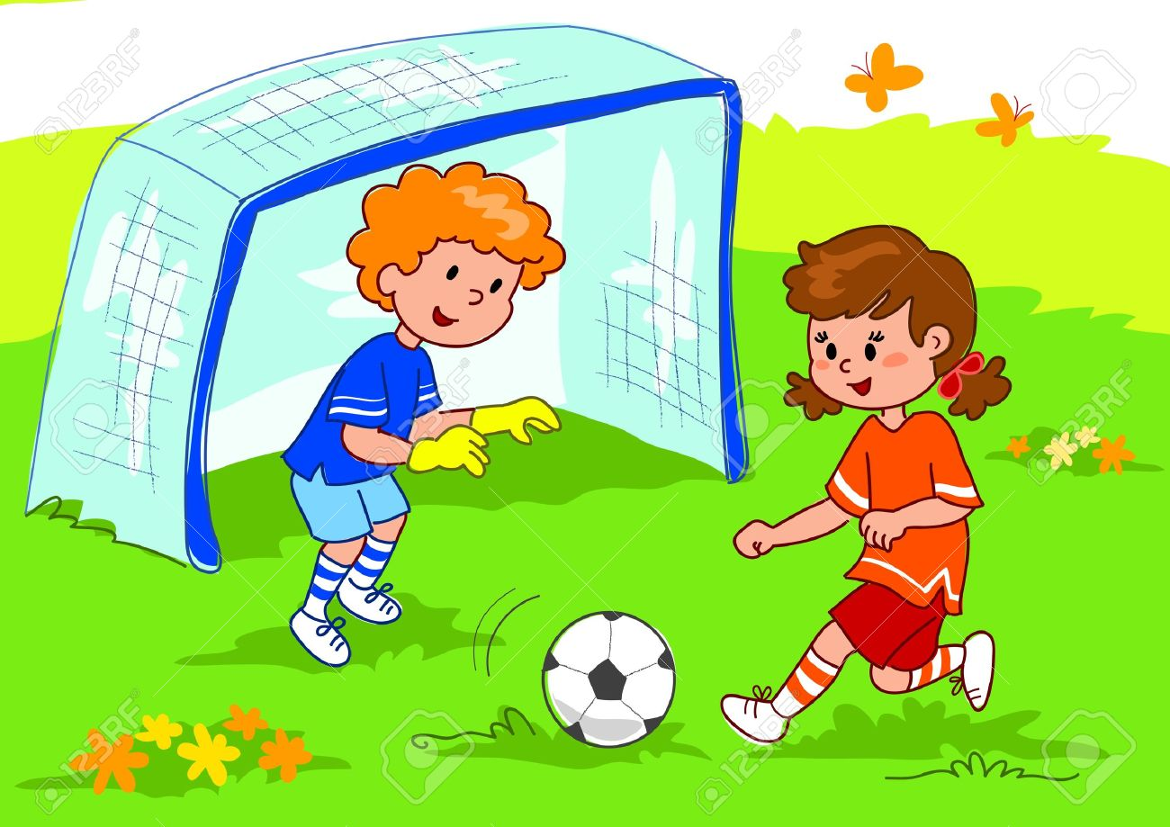 cartoon boy and girl playing football digital illustration stock illustration 13133107