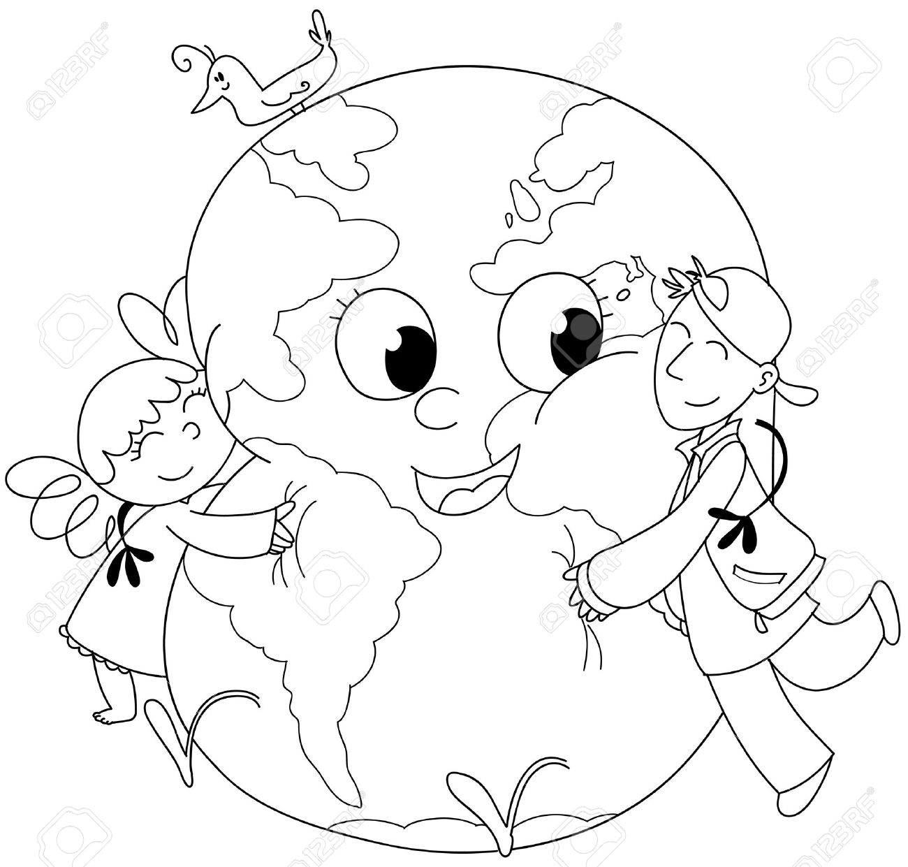 Coloring illustration  two kids embracing a happy earth Stock Photo - 13139994