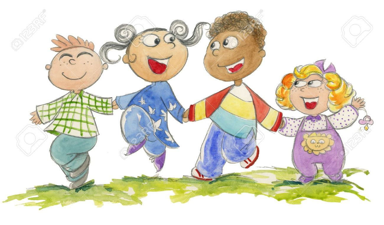 Group of four children of different races jumping happily, watercolored illustration Stock Photo - 13133120