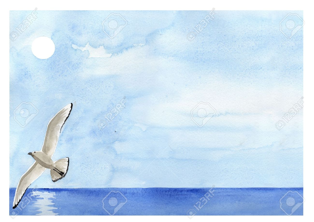 Hand painted watercolor, sea landscape with flying seagull Stock Photo - 13153072