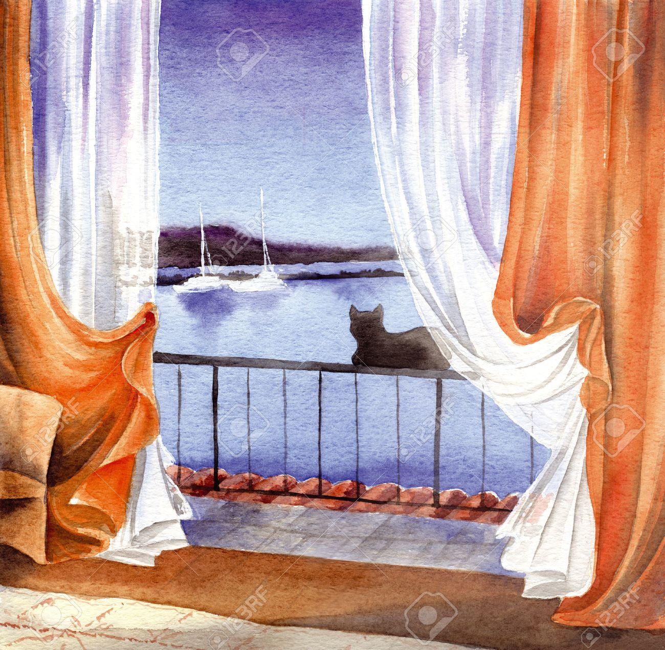 Black cat seing the sea at the window, hand made watercolor Stock Photo - 13153070