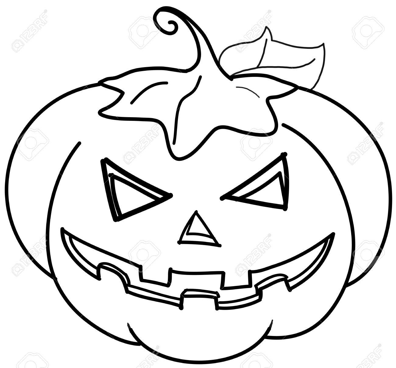 Jack-o-lantern Halloween Pumpkin Coloring Digital Illustration Stock ...