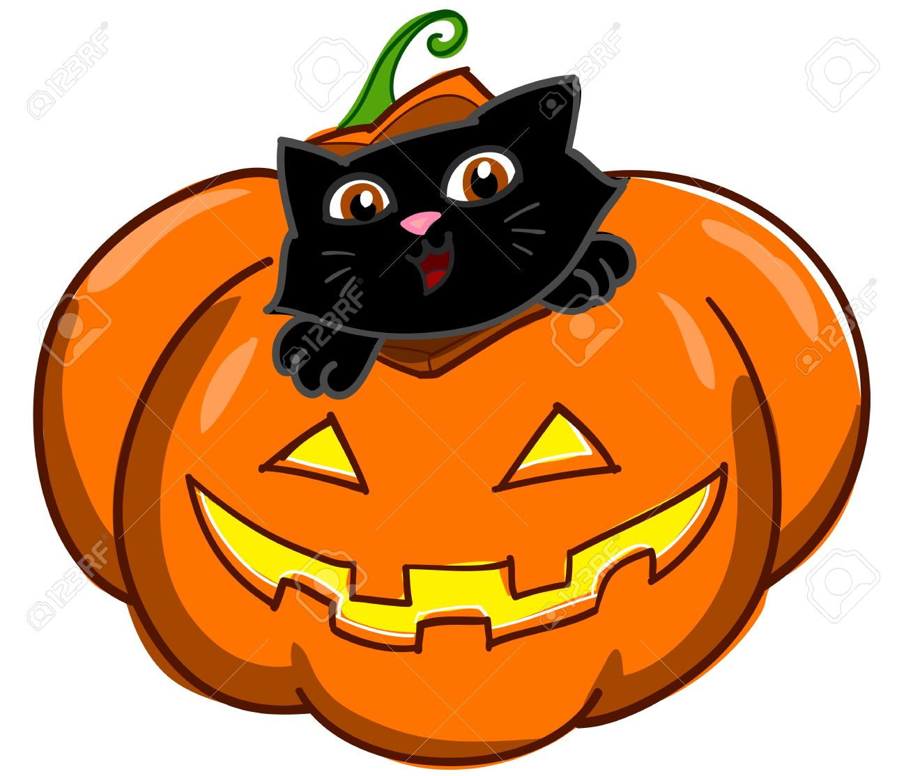 Lovely Halloween Pumpkin With Cute Cartoon Black Cat Digital Illustration Stock  Illustration   13482892
