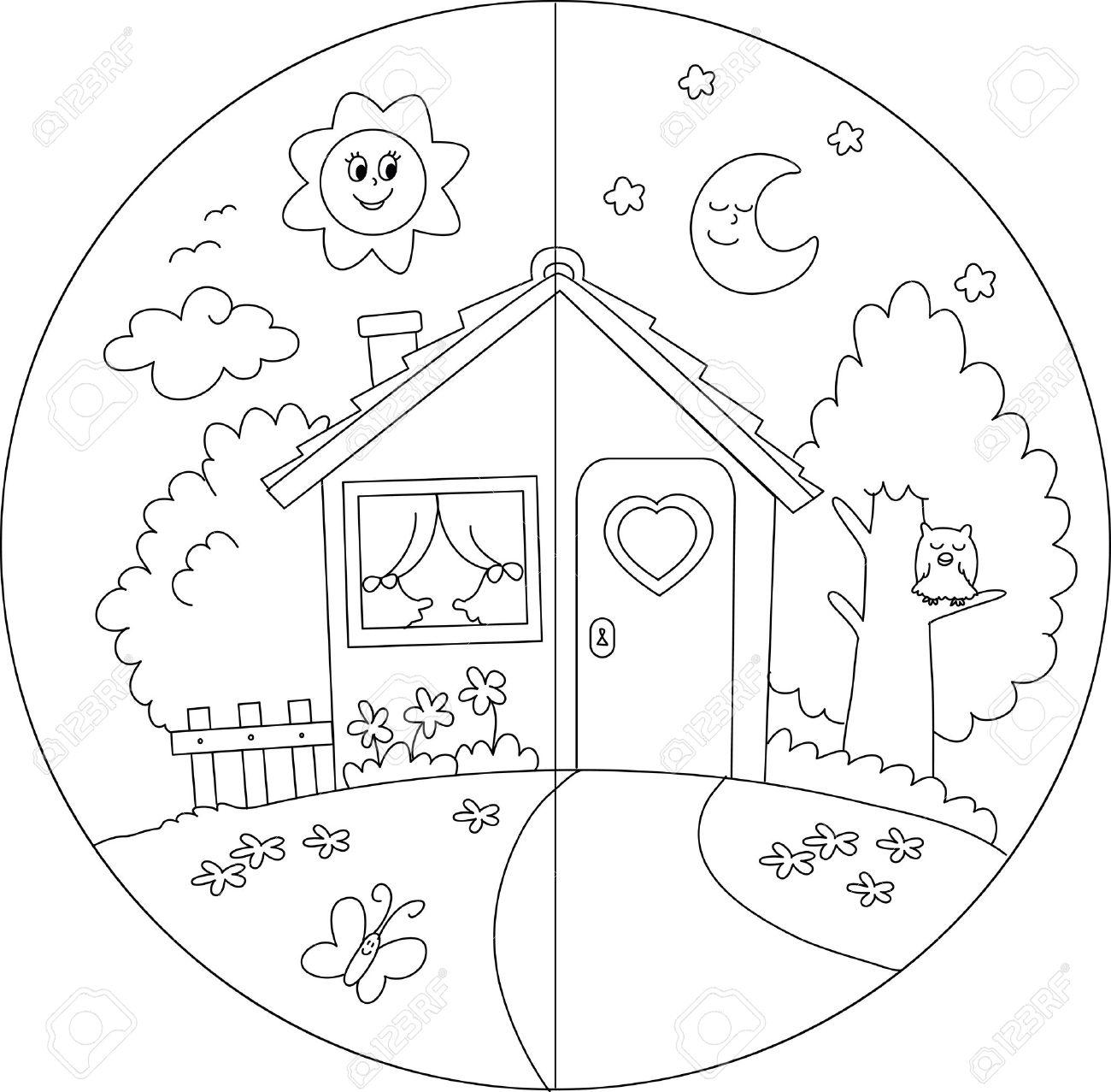 Noche Y Día Vista De Una Casa Para Colorear Vectorial País De Dibujos Animados Para Los Niños