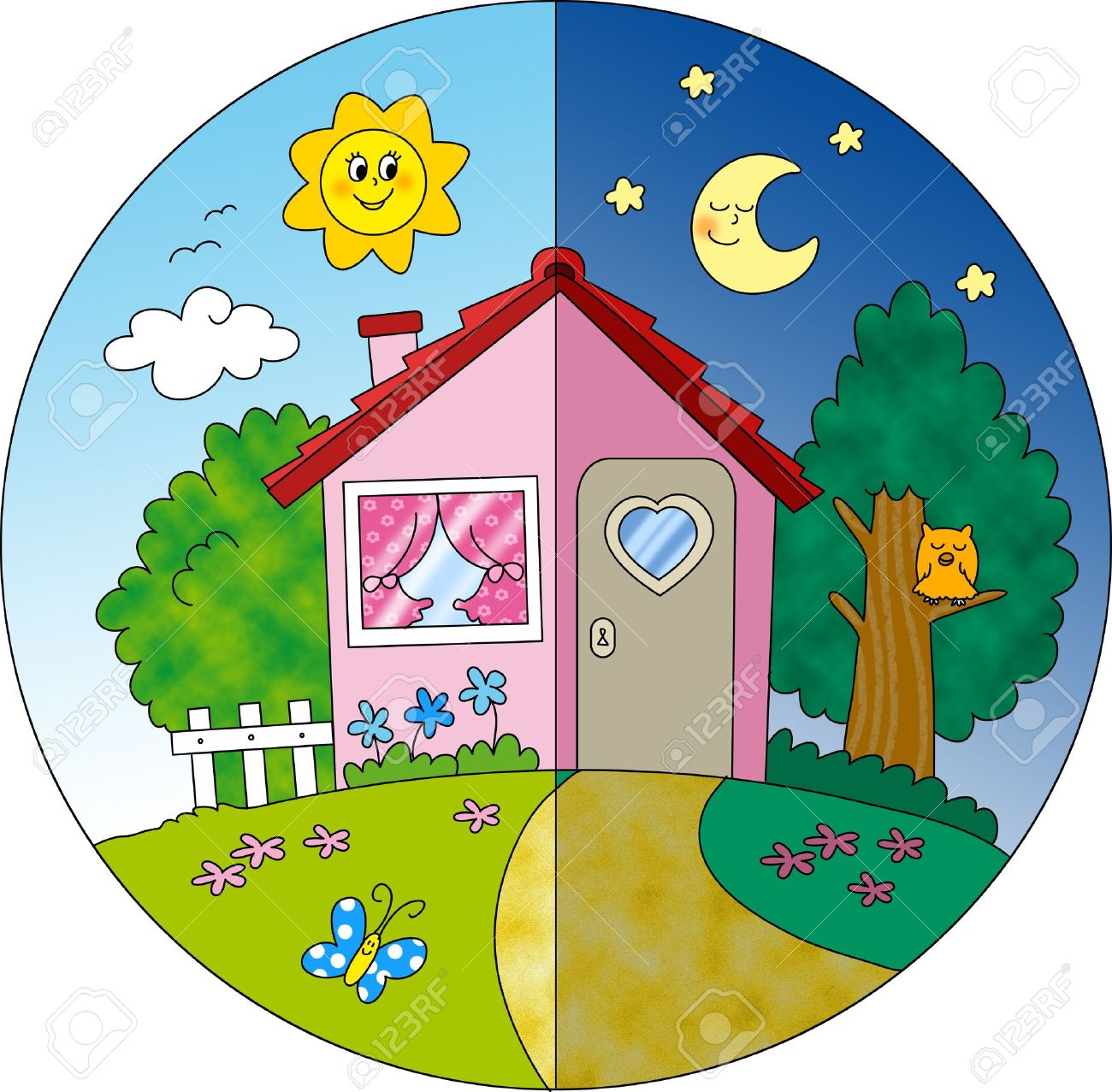 Night and day view of a cartoon country house in spring  Digital illustration for children Stock Illustration - 13474873