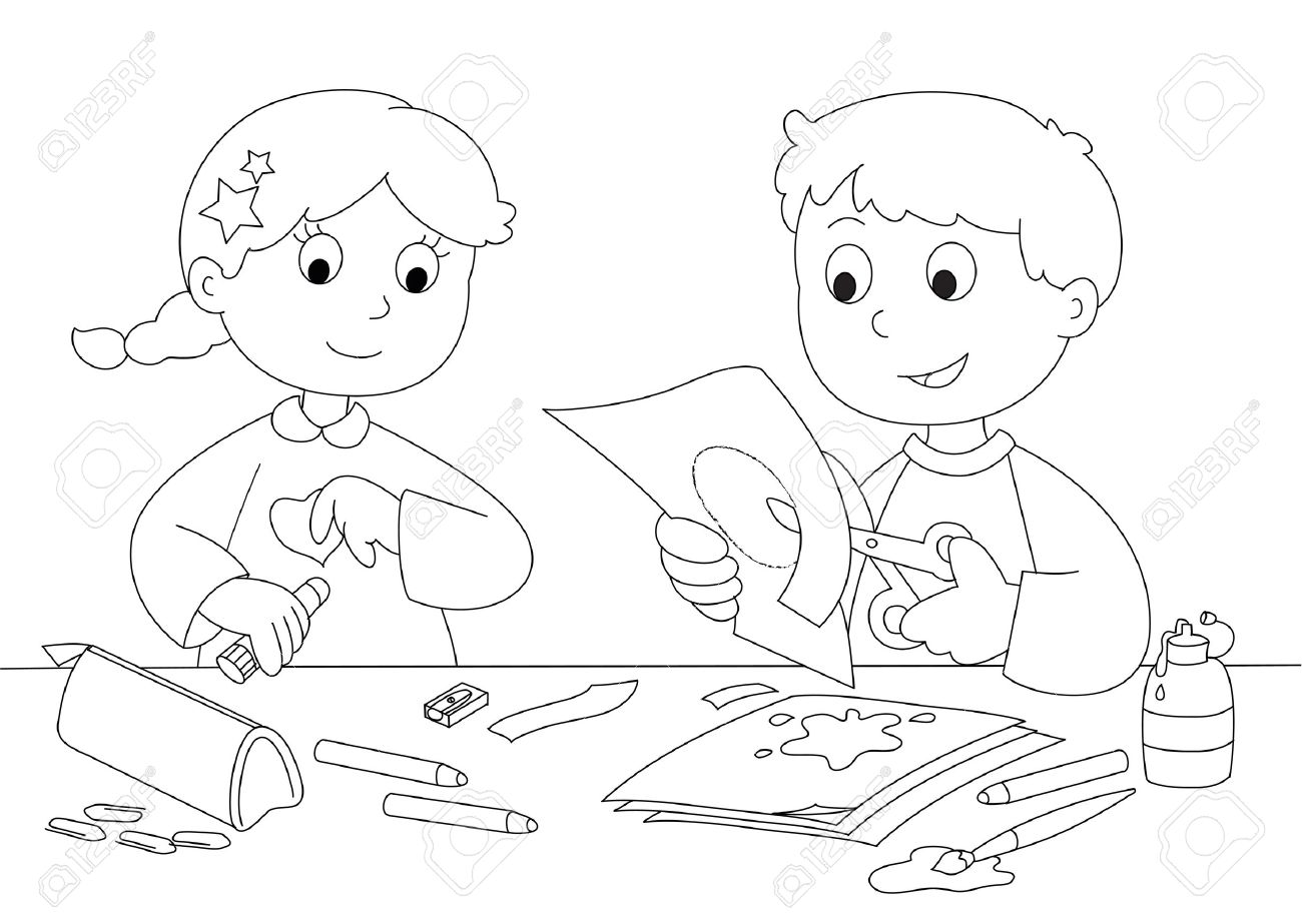 Boy and girl playing with paper, brushes, glue and pencils  Coloring Stock Vector - 13545088