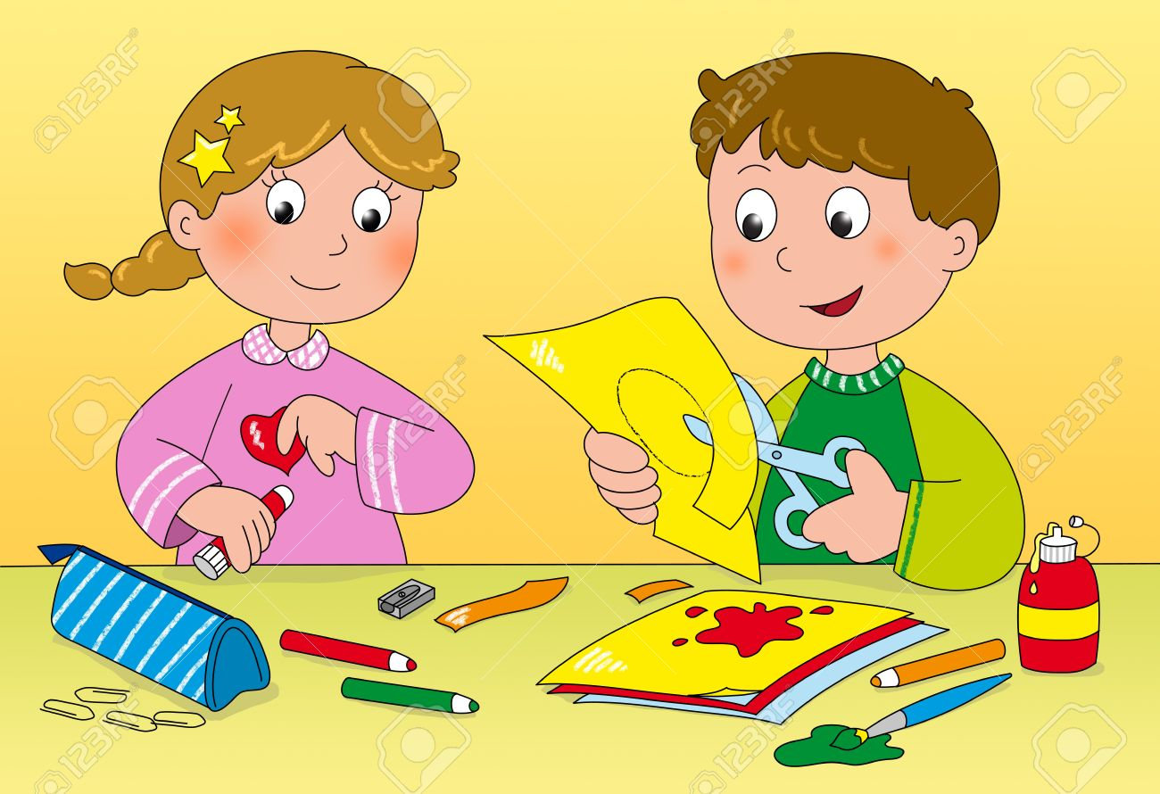 Boy and girl playing with paper, brushes, glue and pencils Stock Photo - 13545091