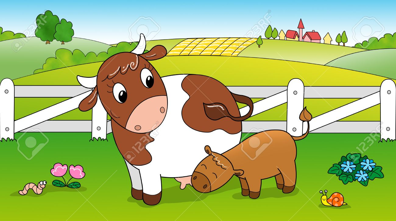 Cute Cow Feeding Calf In The Countryside Digital Illustration ... for Cow And Calf Clipart  575lpg
