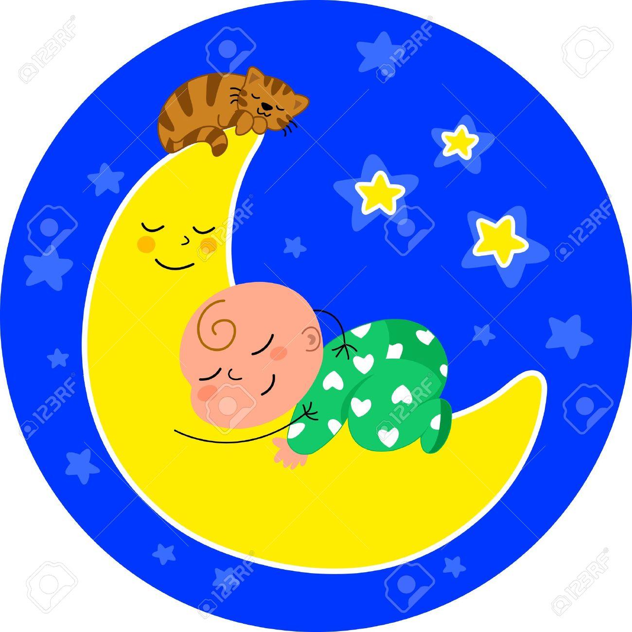 cute baby sleeping on the moon with little cat  Cartoon illustration Stock Vector - 13585377