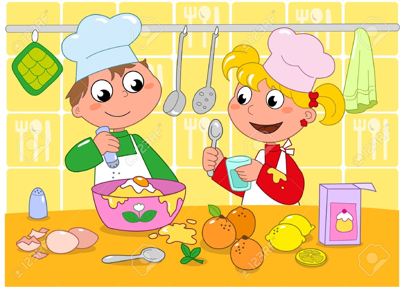 Boy and girl cooking in a kitchen full of ingredients  Cartoon illustration for children Stock Vector - 13585378