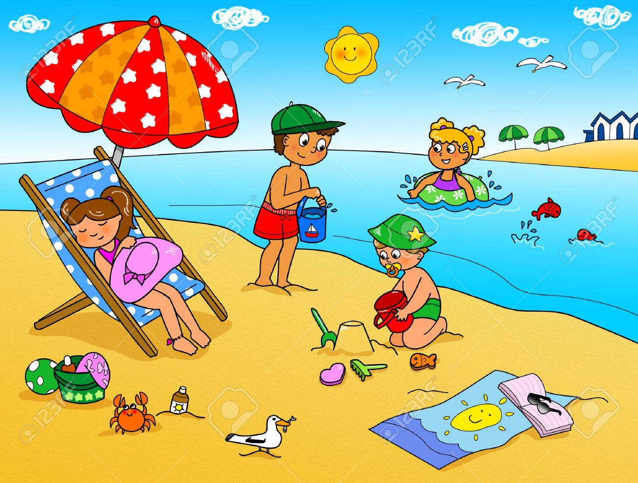 Summer holidays, children playing with the sand at the beach Stock Photo - 13662819