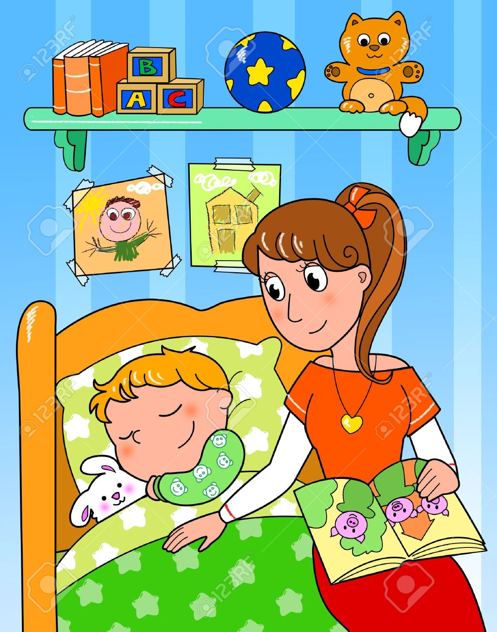 Cute child sleeping in bed with mom, digital illustration - 13681249