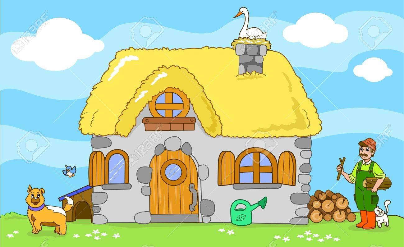 Ancient farm with farmer and cute animals  a cat, a dog, a tiny bird and a stork  Cartoon vector for children Stock Vector - 13727421