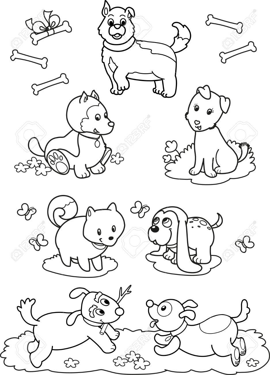 Dibujos En Blanco Y Negro Ilustración Siete Perros Diferentes Lindo Para Los Niños