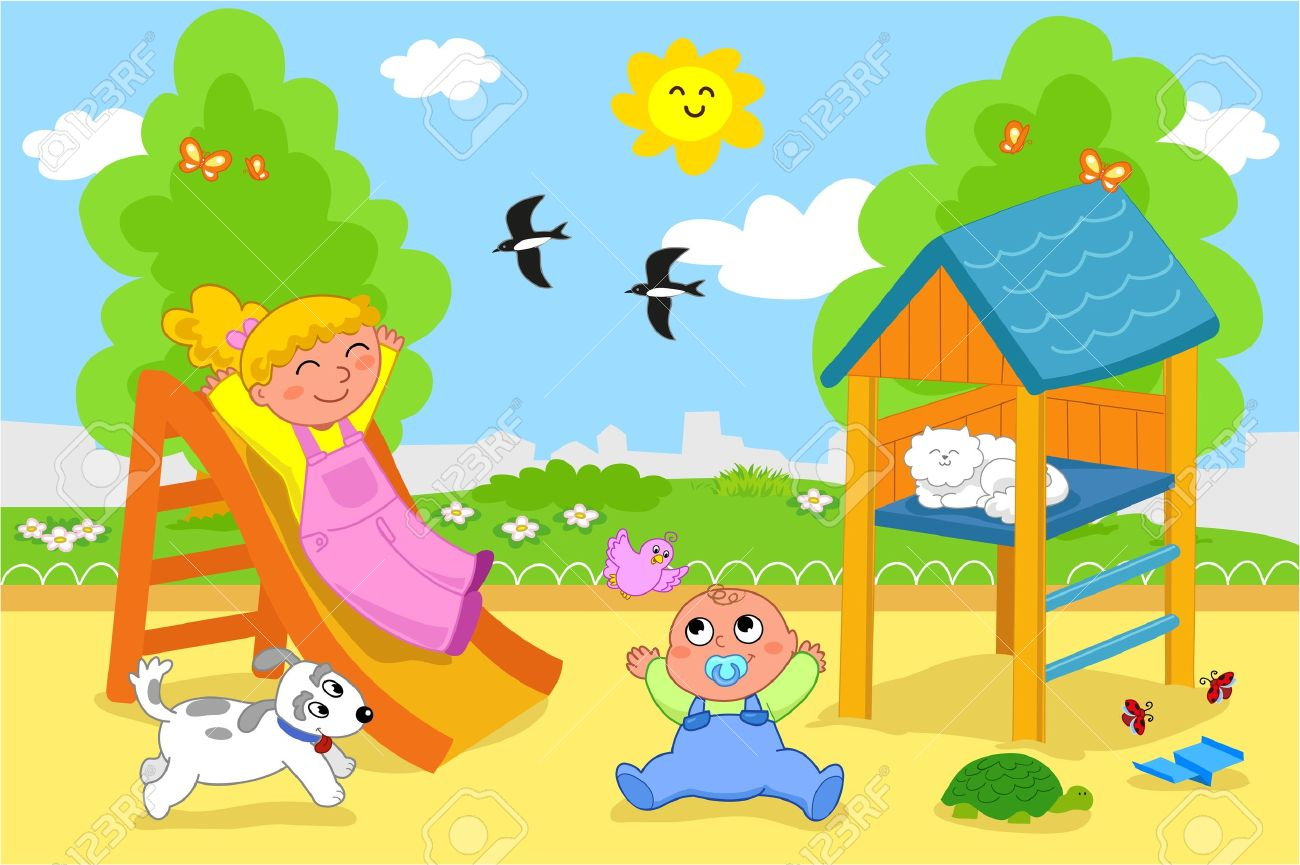 Playground cartoon illustration of a young girl and a cute toddler playing together at the park - 14068408