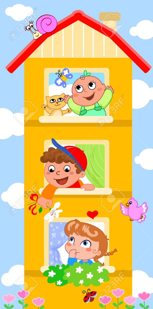 Funny cartoon house  in each window a cute smiling child Stock Vector - 14169625