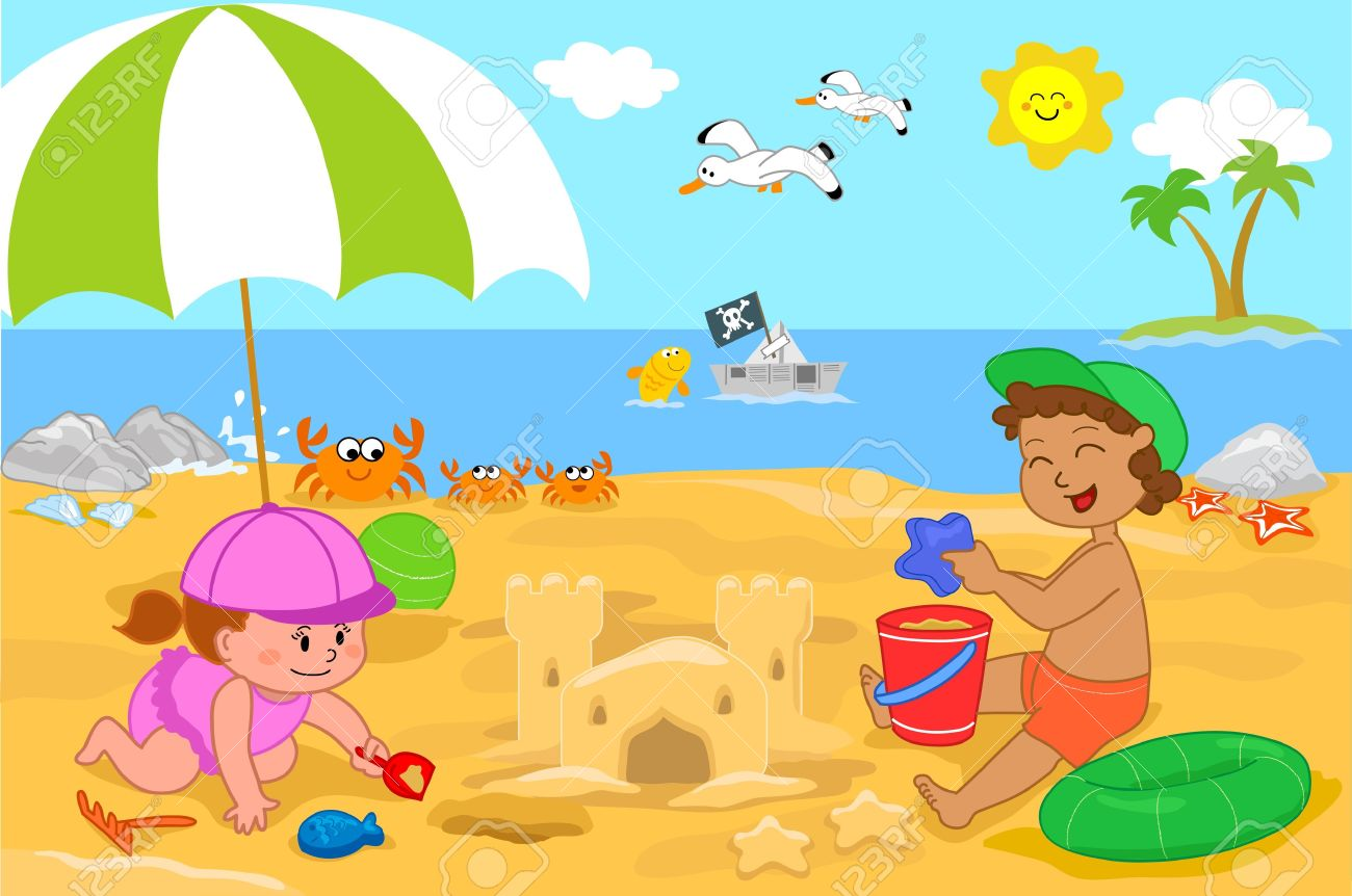 Vacation at the seaside  a little girl and a boy making a sand castle on the beach Stock Vector - 14169629