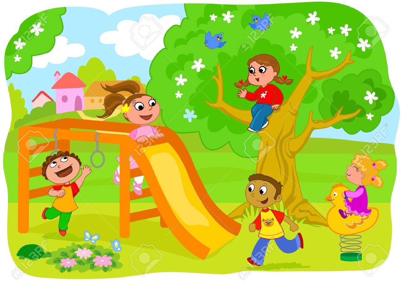 Playground in the country  five happy children playing together Stock Vector - 14323873