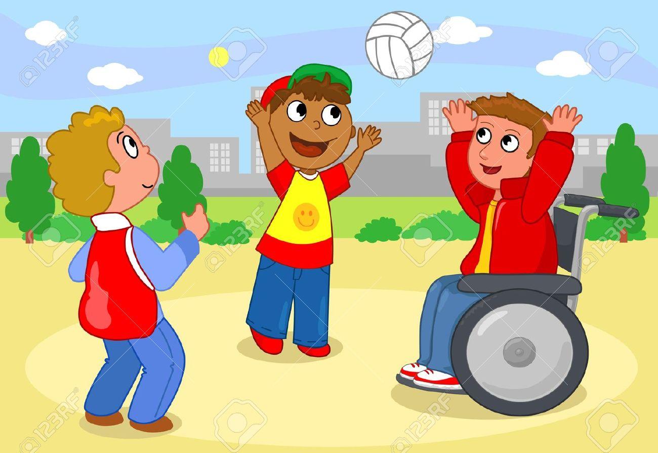 Dos Niños Que Juegan Voleibol Con Un Niño En Silla De Ruedas ...