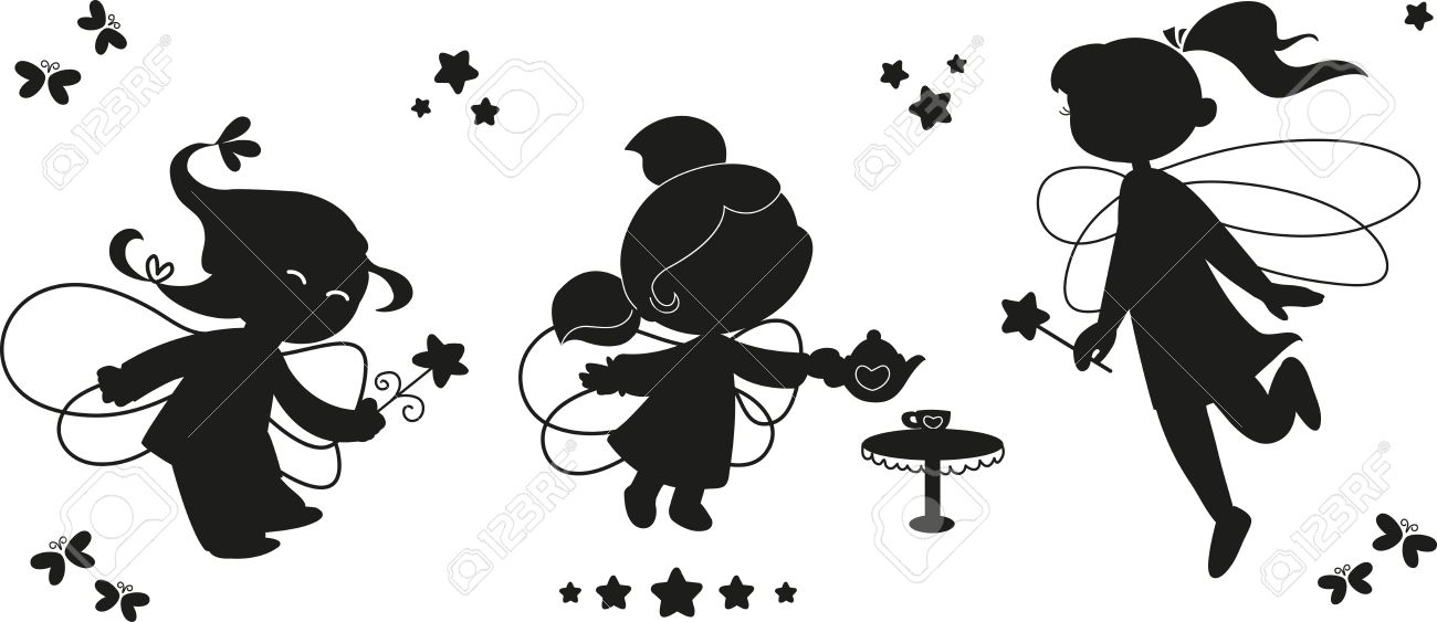 Three black silhouettes of cute fairies flying with wands Stock Vector - 15097699