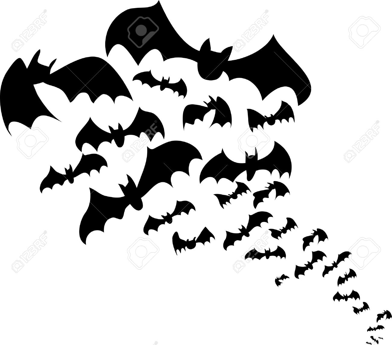 flying bats flock black silhouettes for halloween royalty free