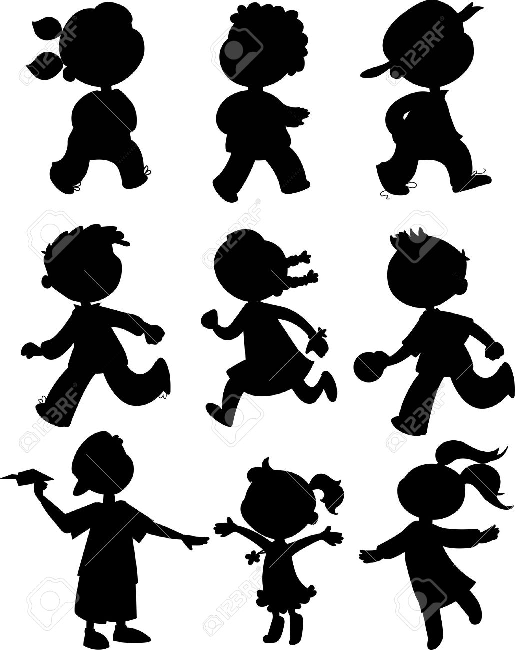 Children black silhouettes of boy and girls walking, running and playing Stock Vector - 15136264